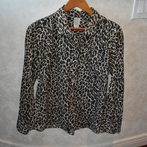 "J. Crew animal print ""The Perfect Shirt"" Size 6"